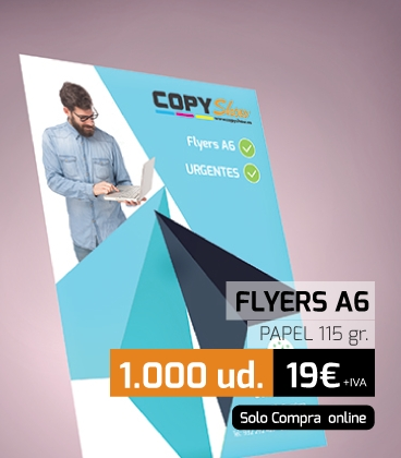 100 flyers A6 1 cara papel 115gr.