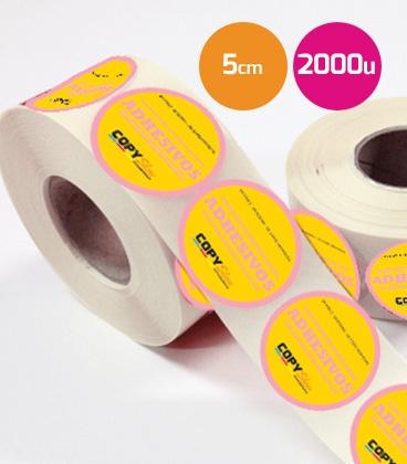 Pegatinas en bobina redondas 5cm 2000 unidades