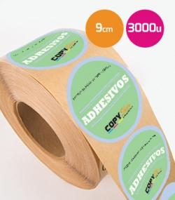 Pegatinas en bobina redondas 9,5cm 3000 unidades