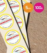 Pegatinas en vinilo redondas 5cm 100 unidades