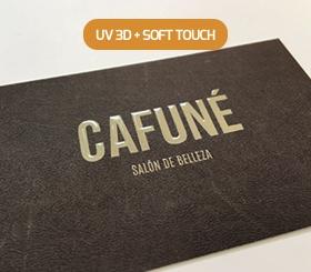 Tarjetas de visita Relieve selectivo + laminado soft touch