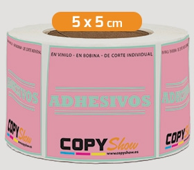 Adhesivos en bobina cuadrados 5x5cm