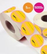 Pegatinas en bobina redondas 5cm 5000 unidades