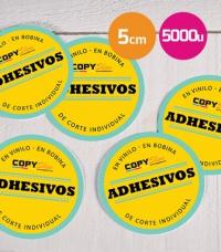 Pegatinas en vinilo corte individual redondas 5cm 5000 unidades